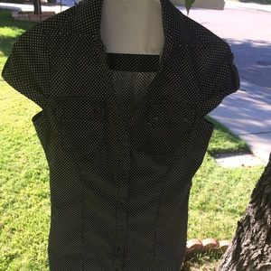 Express black polka dot white dress size 4 small